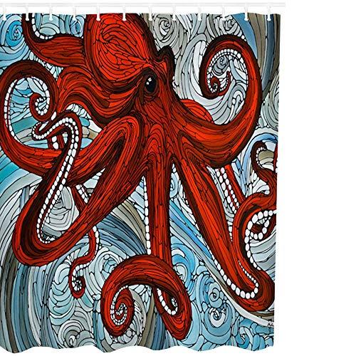 3CLifewaren Duschvorhang Digital Printed Oktopus Muster Blickdicht Waschbar Badezimmer Dusche Vorhang Dekoration mit Kunststoff Haken, 180cmx180cm (Vorhang Dusche Kunststoff)