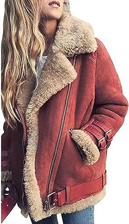 POLPqeD Cappotto in Pile con Pelliccia Sintetica Invernale da Donna Outwear Giacca da Aviatore da Motociclista con Risvolto Caldo Cappotto con Risvolto
