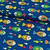 Stoffe Werning Baumwollstoff Fische bunt royalblau