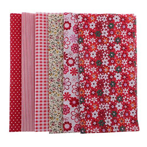 Baoblaze 6 Baumwolle Stoffe Rot Floral Baumwollstoff Set Stoffpaket DIY Baumwolltuch Stoffreste Paket -