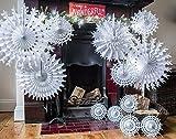 Papel blanco tradicional de los copos de nieve de Navidad - Lote de 12