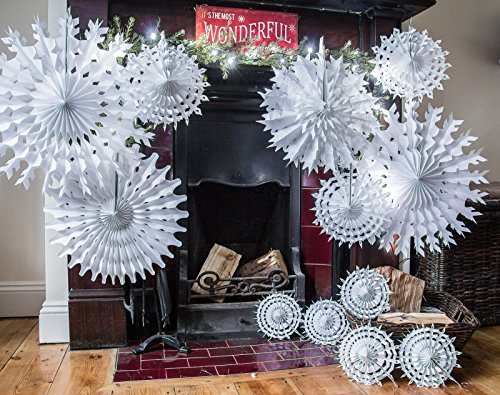White Paper Snowflakes - pack of 12. Just like what we used to make at school, only more professional!