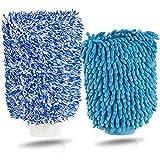 Premium Microfaser Autowaschhandschuh Set - Autoschwamm zum Auto waschen - Profi Schwamm Auto Waschhandschuh Mikrofaser (2er Set)