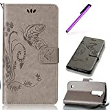 EMAXELERS LG Spirit H440 C70 Hülle Elegant Retro Blumen Muster Painted PU Cover Handytasche Schale Handyhülle für LG Spirit 4G LTE H440N / LG Spirit 3G H420 C70,Gray Big Butterfly