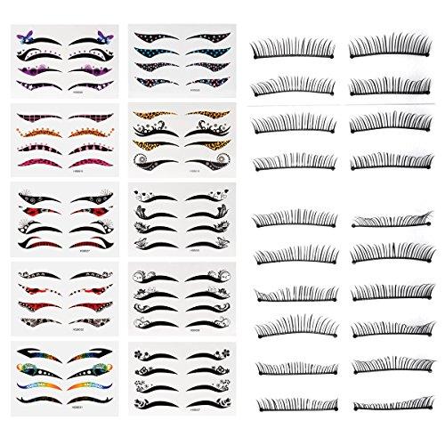 40 Paare Eyeliner Augen Make-up Tattoo, Lidschatten Aufkleber, Lidschatten Aufkleber, Transfer Lidschatten und Eyeliner Aufkleber Combo und 10 Paare Handmade Wimpern