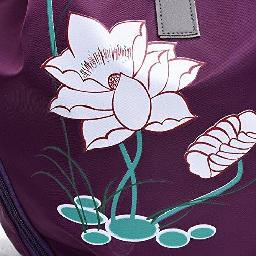 Dames Nylon Sacs D'école Coréen Femmes Occasionnels Sacs à Dos Sacs à Bandoulière purple