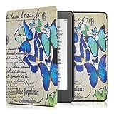 kwmobile Funda para Kobo Aura Edition 2 - eReader Case de cuero sintético - Con tapa E-book reader Flip style Diseño mariposa letra/carta azul menta beige