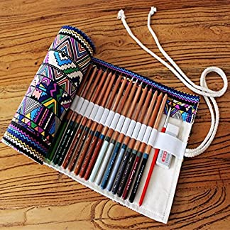 Generic S: 36/48/72étnico viento profesional cepillo cosméticos bolsa bolígrafo bolsa rollo bolsa impresión lápiz funda de lona Make up bolsa