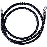 iJewelry2 - Collana in cordino di pelle intrecciato nera, lunghezze da cm 40,6/ 45,7/ 50,8/ 76,2cm