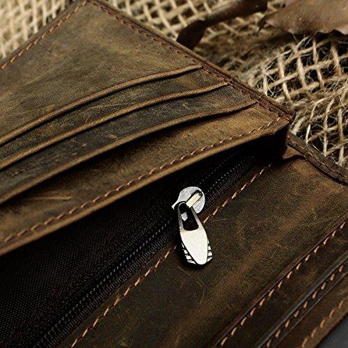 Stepack Marken-Männer echtes Leder-lange Bifold Mappe Mutli Taschen-Identifikation-Karten-Halter Dunkelbraun