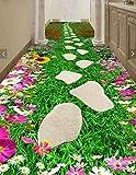 Poowef 3D Wallpaper die selbstklebenden creative Flower Bath Road Korridor durch die 3D-Stock Aufkleber Poster wasserdicht rutschfest Verschleiß