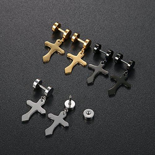 herren damen 3 paare kreuz ohrstecker set schwarz gold silber oidea gothic edelstahl rund. Black Bedroom Furniture Sets. Home Design Ideas