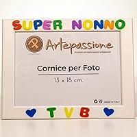 Cornici per foto in legno con la scritta Super Nonno TVB e decorata con cuoricini, da appoggiare o appendere, misura…