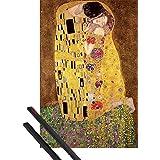Póster + Soporte: Gustav Klimt Póster (91x61 cm) El Beso, 1908 Y 1 Lote De 2 Varillas Negras 1art1®