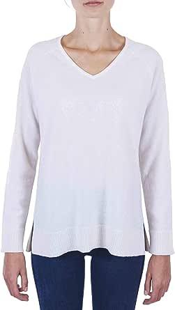 CASH-MERE.CH 100% cashmere, pullover da donna con taglio dritto e spacco laterale, con scollo a V, 2 fili