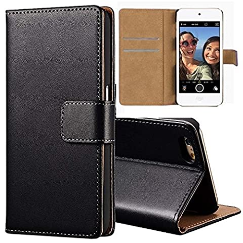iPod Touch 6th/5th Generation Genuine Leather Wallet Flip Case Black with Tan Interior Slim Cover Holder+2 Retina Screen Protector (iPod Touch 6/5, Black)