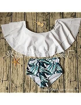 TIANLU Bikini Sexy conjuntos bañador de adelgazamiento trajes de baño bañador bañador doble reborde plano, blanco,M