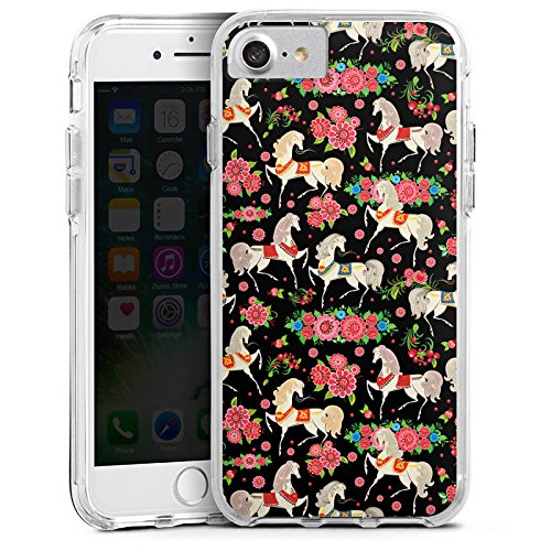 Apple iPhone 7 Bumper Hülle Bumper Case Glitzer Hülle Pferde Horses Flowers Bumper Case transparent