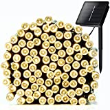 #8: Addlon Solar LED String Lights (10-clip Included) Decorative Lighting,72ft(22m) 200 LED 8work Modes,Ambiance lighting for Outdoor, Patio, Lawn, Landscape, Fairy Garden, Home, Wedding, Holiday, Christmas Party, Xmas Tree,waterproof (Warm White)