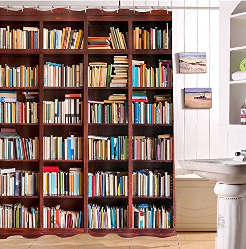 LB Biblioteca Estudio Estantería Librería Libro cortina de baño para baño set de cortinas de ducha con 12 ganchos estanco de poliéster antimoho 150x180