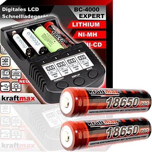 Original BC-4000 EXPERT Akku Ladegerät + 2x 18650 Li-ion Akkus speziell für Taschenlampen - NEUESTE VERSION mit kraftmax LI+ Smart Li-Ion Charging Technology