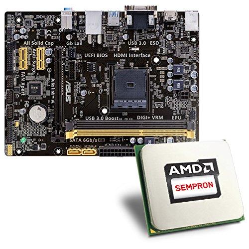 AMD Sempron 3850 / ASUS AM1M-A Mainboard Bundle | CSL PC Aufrüstkit | AMD Sempron 3850 APU 4x 1300 MHz, Radeon HD 8280, GigLAN, 7.1 Sound, USB 3.1 | Aufrüstset | PC Tuning Kit