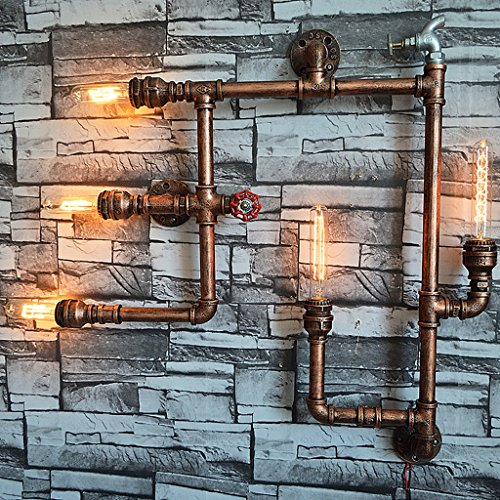 Crayom Vintage Industrial Retro Wasser Rohr fünf Edison Lichtquellen Wand Lampe Steampunk Wand Licht Rustikale Stil Hotel Lichter Scheune Garage Villa Beleuchtung Leuchte Höhe: 75cm