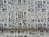 Search : Vintage cotton print fabric Sewing Machines, Scissors, mannequins cotton poplin dressmaking patchwork sewing Fabrics 1950s style vintage dress skirts - Per Metre (Tan)