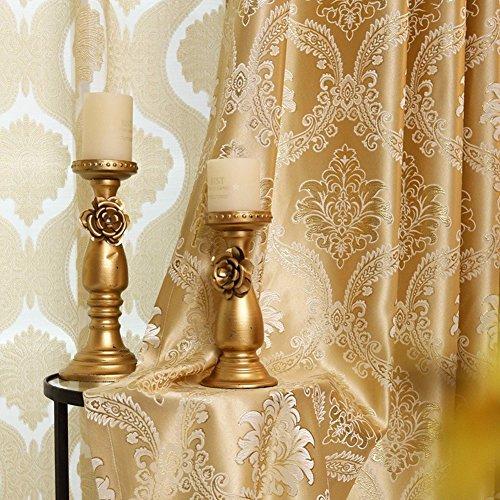2er-Set Europäische goldene luxuriöse jacquard Vorhänge für Schlafzimmer Wohnzimmer (245*140 cm)