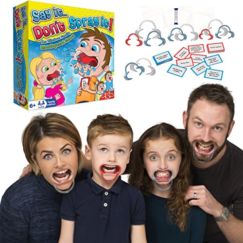 HTI Say It Dont Spray It Party Game - The Hilarious Speak Out Mouthpiece Mouthguard Board Game - Family Edition