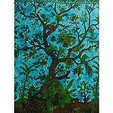 Couverture Tenture indienne ARBRE DE VIE Turquoise 240x200cm Coton Ameublement Décoration Textile Couvre-lit Style Tie Dye