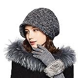 Kenmont Damenmütze Mütze Retro Barette Cap Slouch Beanie Strickmütze Winter Hüte Baske Baskenmütze Hut für Mädchen einstellbar (Dunkel Grau Baskenmütze)