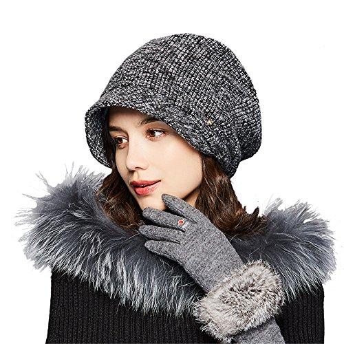 Kenmont Damenmütze Mütze Retro Barette Cap Slouch Beanie Strickmütze Winter Hüte Baske Baskenmütze Hut für Mädchen einstellbar (Dunkel Grau Baskenmütze) (Einstellbar Grau Hut)