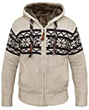 Poolman norvegesi maglione con cappuccio foderato con pelliccia Beige XXX-Large