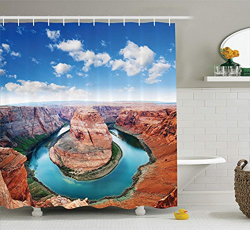Canyon Collection (ajnxcid Room Decorations Collection, Horse Shoe Bend North Rim Grand Canyon Page Arizona USA Famous Tourist Attractions, Polyester Fabric Bathroom Shower Curtain, 75 inches Long, Sandy Brown)