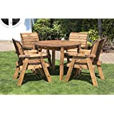 HGG Round Wooden Garden Table and 4 Chairs Dining Set - Outdoor Patio Solid Wood Garden Furniture
