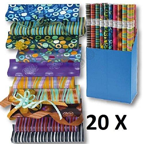 20 Rollen Geschenkpapier Graphic Mix Papier 2m x 0,70m