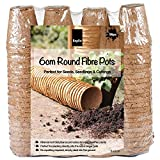 KEPLIN Round Fibre Pots 96pc, Biodegradable Seed Seedling pots, 6 cm