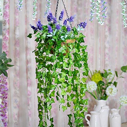 Lx.AZ.Kx Lavanda fiori di emulazione Kit complessivo di arte floreale il sollevamento della navicella di seta in plastica di Fiori Fiori artificiali Rattan Decorationb parete)