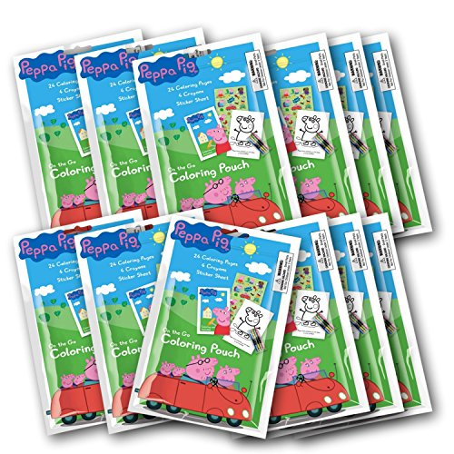 Peppa Pig Ensemble DE 12DE coloriage Pochette avec Crayons (Lot DE 12dragées)