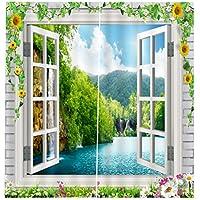 Baoblaze 2X Cortina Salón de Panel Gasa Baño Hogar Ventana Dormitorio Decotativo de Fiesta Cáfe Oficina - Estilo 13