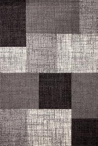Lalee 347167647 Moderner Designer Teppich / Trendig / Patchwork Art / Silber Grau / Grösse : 80 x 150 cm