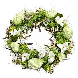 Osterkranz Grün, Blütenkranz, Türkranz, Dekokranz, Kranz, Ostereier, Ø ca. 30cm