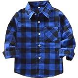 Yying Camisa Niño Manga Larga - Camisa Cuadros Blusa Niños Tops Niñas Camiseta Primavera Otoño Tshirt Tartan Shirt Escuela Ab