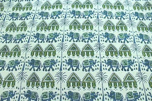 Cotton Super King Large Size Hand Block Print Bedspreads Bed Cover Elephant Printed Green Blue Bedding Sheets 104 x 114 Inches