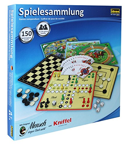 Idena-6102589-Spielesammlung-mit-150-Spielmglichkeiten Idena 6102589 – Spielesammlung mit 150 Spielmöglichkeiten, inklusive original Mensch ärgere Dich nicht und Kniffel, für 1 bis 8 Spieler ab 6 Jahren -