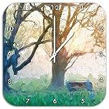 Baum und Bank im Nebel Pinsel Effekt, Wanduhr Quadratisch Durchmesser 48cm mit weißen spitzen Zeigern und Ziffernblatt, Dekoartikel, Designuhr, Aluverbund sehr schön für Wohnzimmer, Kinderzimmer, Arbeitszimmer