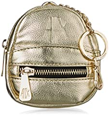 Idea Regalo - ARMANI EXCHANGE Key Ring Coin Purse - Portachiavi ad anello e catena Donna, Oro, 10.0x5.0x10.0 cm (B x H T)