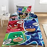 PJ Masken 'Comic' Super Cat Speed Print Single Bettwäsche Set, 50 % Baumwolle / 50 % Polyester, Pj Masks Print, 50% POLYESTER 50% COTTON