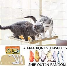 COUTUDI Katzenfenster Hängematte/Barsch für Sonnenbad, Bequemes stillstehendes Schlafbett für große Katzen-Miezekatze von bis zu 33lb